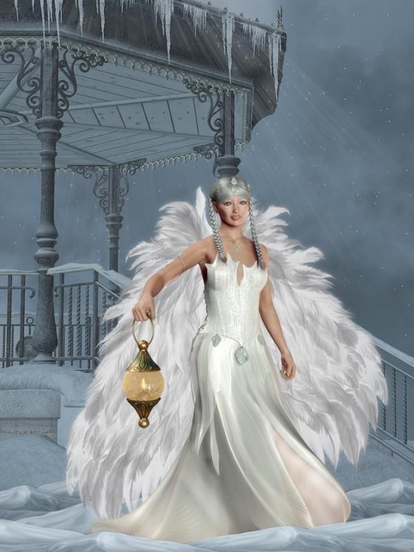 Ange à la lanterne